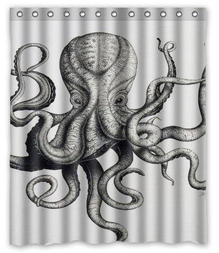 Custom Octopus Steampunk Ocean Shower Curtain – Bathroom Decor