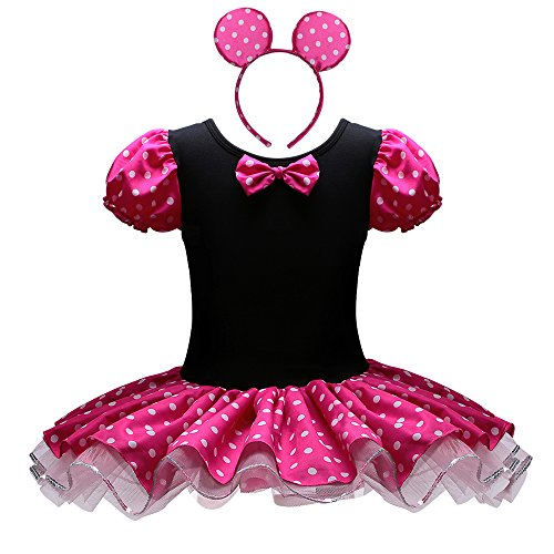 [Baby Girls Cute Mouse Dress with Headband Halloween Costume (XL(4-5Y), Hot pink)] (Dance Costumes Kids Usa)