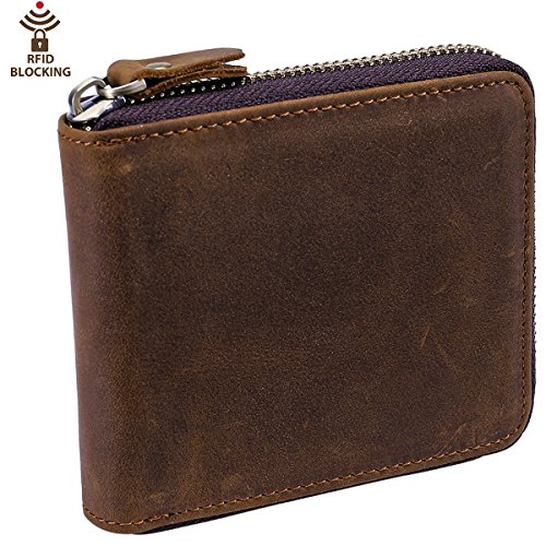 Leather Mens Zipper (Itslife Men's RFID Blocking Leather Zipper Around Wallet Travel ID Card Window Bifold (Brown with SD Card Slots))