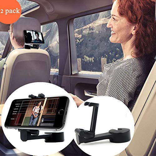 Jushi Car Headrest Hooks Hanger with Lock for Holding Phones and Hanging Bag, Purse, Cloth, Grocery- Set of 2 (Black) Strong and Durable headrest Hooks for car with Phone Holder
