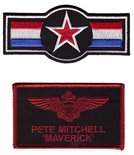 Maverick Air Force Star Top Gun Movie Name Tag Costume - 2 p