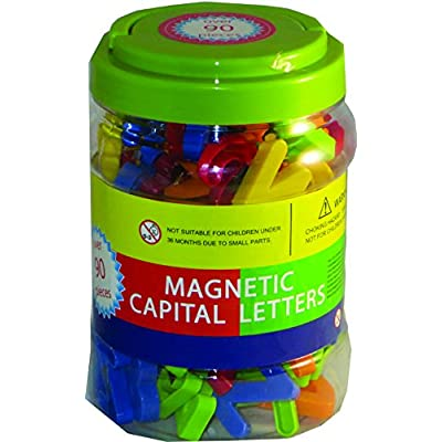 megcos Magnetic Capital Letters in a Jar, 90-Piece: Toys & Games