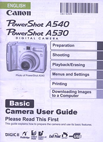 (English Canon Powershot A540 and A530 Basic Camera User Guide)