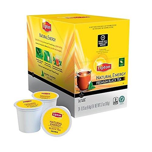 Lipton Natural Energy Premium Black Tea single serve pods for Keurig K-Cup brewers, 96 Count