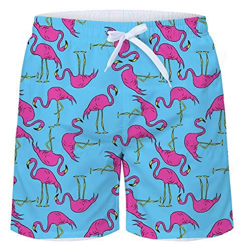 Uideazone Men's Summer 3D Print Flamingos Graphic Slim Fit Waterproof Antibactarial Board Shorts Swim Trunks - Funny Flamingo