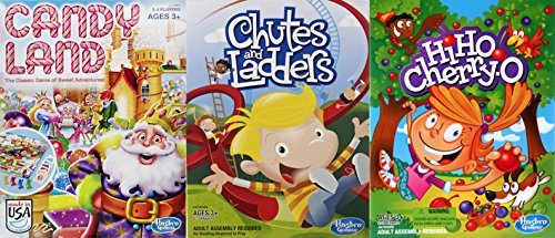 Christmas Candy Land, Chutes and Ladders and Hi Ho Cherry-O Board Game Bundle