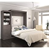"Bestar Pur 90"" Queen Wall Bed in Bark Gray"