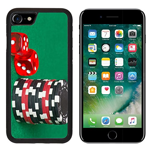 MSD Premium Apple iPhone 7 iPhone7 Aluminum Backplate Bumper Snap Case red and black poker chips dice on a green casino felt Image ID 24878195