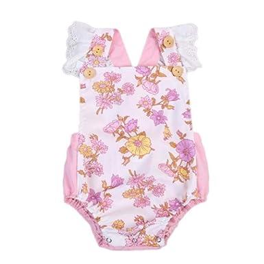 Ropa para bebés Ropa de Encaje Floral Imprimir Romper Outfit ...