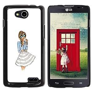 YOYOYO Smartphone Protección Defender Duro Negro Funda Imagen Diseño Carcasa Tapa Case Skin Cover Para LG OPTIMUS L90 D415 - chica mujer vestido de moda las gafas blancas