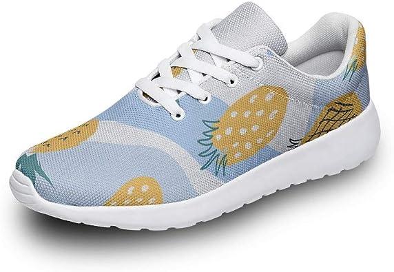 Zapatillas de Deporte para Hombre y Mujer, con Malla de Aire, para Caminar, piña, Frutas, Estampadas, Modernas, para Entrenar, Color Azul: Amazon.es: Zapatos y complementos