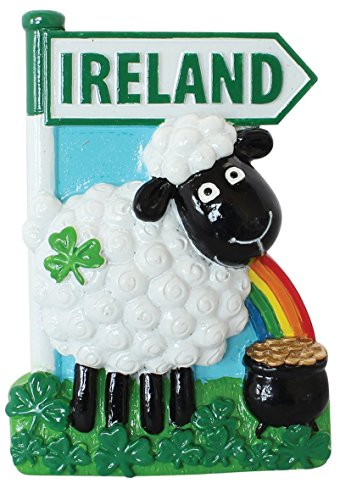 Resin Magnet with Ireland Sheep Shamrock Rainbow and Pot of Gold -