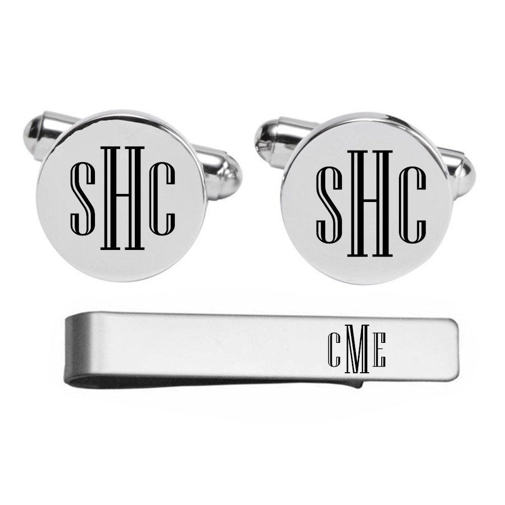 Kooer Engraved Monogram Cuff Links Tie Clip Custom Personalized Cuff Links Vintage Wedding Jewelry (Silver plated cufflinks & tie clip set)