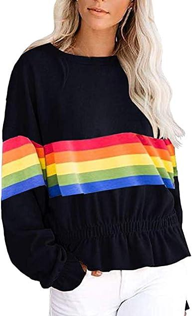 YYear Womens Round Neck Long Sleeve Rainbow Striped Casual Pullover Sweatshirt