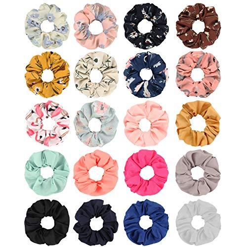 SUBANG 20 Pack Chiffon Flower Scrunchies Hair Elastics Scrunchies Hair Bands Ties for Women Girls