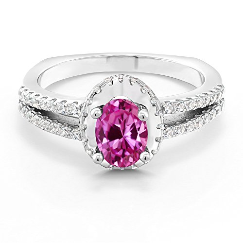 eated Sapphire 925 Sterling Silver Ring (Gemstone Pink Sapphire Ring)