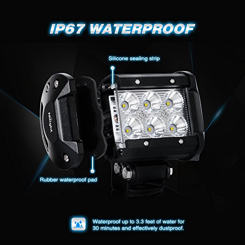 LED Light Bar Nilight 4PCS 4 Inch 18W  LED Bar 1260lm Spot Led Off Road Driving Lights Led Fog Lights Jeep Lighting Waterproof LED Work Light for Van Camper SUV ATV  ,2 Years Warranty
