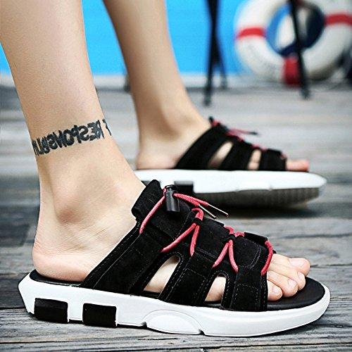 Leisure Summer Drag Antideslizantes Wear Summer Shoes 39 Zapatillas Sandalias XING Trend 43 Bottom Fashion Word Herringbone Beach Blackwhite Mens Soft Blackwhite GUANG aF5nwA