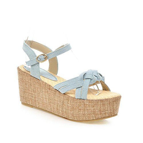 Amoonyfashion Donna In Denim Solido Tacco Alto Sandali Open Toe Fibbia Azzurro