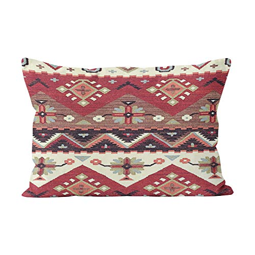 (Gygarden Cultural Tribal Indian Color Hue Brown Unique Hidden Zipper Home Decorative Rectangle Throw Pillow Cover Cushion Case 20x36 Inch King One Side Design Printed Pillowcase)