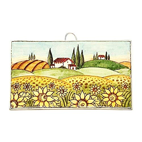 CERAMICHE D'ARTE PARRINI - Italian Ceramic Art Tile Pantiles Pottery Sunflower Painted Made in ITALY Tuscan ()