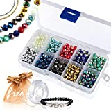 Briolette Faceted Rondelle Crystal Glass Beads in Assorted Color with Spacers and Container Box for Jewelry Making (#102, 6mm)
