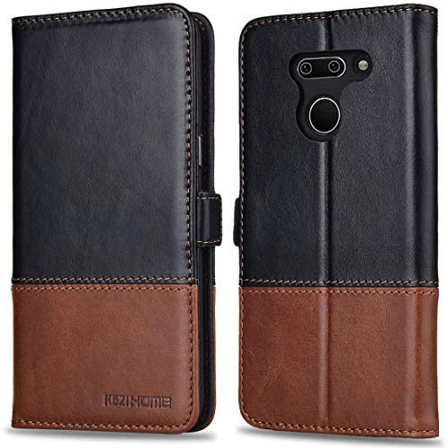 KEZiHOME LG G8 ThinQ Case, LG G8 Case, Genuine Leather Wallet Flip Case with Kickstand and RFID Blocking Card Slots Magnetic Clasp Cover for LG G8 ThinQ / LG G8 (Black/Brown)