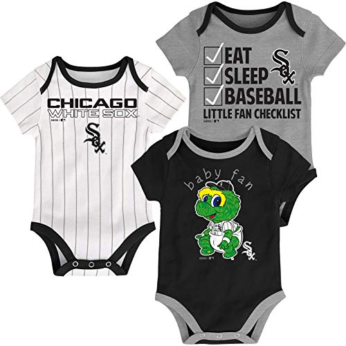 Outerstuff MLB Newborn Infants Play Ball 3 Piece Creeper Body Suit (18 Months, Chicago White Sox) (White Chicago Sox Suits)