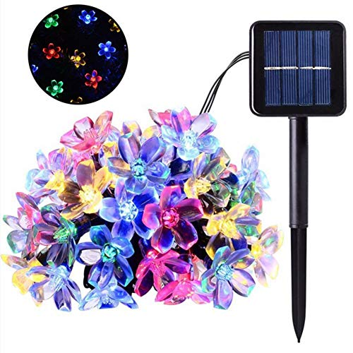 Solefun Solar Strings Lights, 23 Ft 50 LED Flower Solar Fairy Lights, Garden Lights for Indoor Garden, Home, Lawn, Wedding, Patio, Party and Holiday Decorations - Multi Color