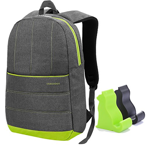 Price comparison product image Grey Universal VanGoddy Grove Laptop Backpack for HP 250 G4 Notebook 250 G4 15.6 inch + Black and Green Mini Cat Smartphone Stand