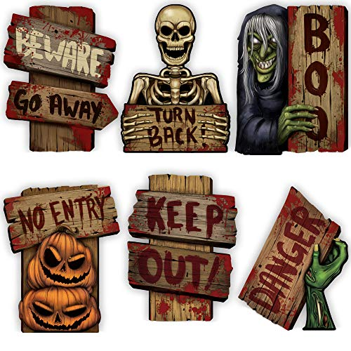 Wooden Outdoor Halloween Decorations (JOYIN 8 PCs Halloween Outdoor Decorations Corrugate Yard Stake Signs Beware Warning Halloween Props Lawn Yard Decorations, Trick or Treating Outdoor/Indoor)