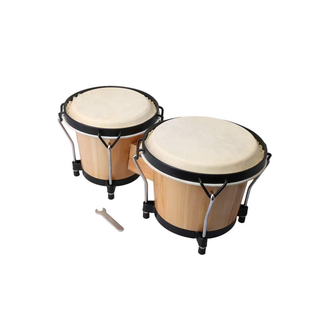 Lovermusic Wooden Bongos Drum Bongo Hand Drums African Drum Percussion Instruments