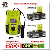 Ryobi P117 Dual Chemistry IntelliPort Charger & Two P107 Compact LITHIUM+ Battery (Bulk Packaged)