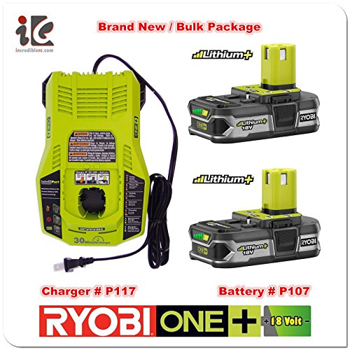 Ryobi P117 Dual Chemistry IntelliPort Charger & Two P107 Compact LITHIUM+ Battery (Bulk Packaged) by Ryobi