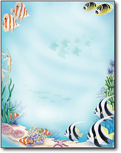 Sea Life Tropical Stationery Letterhead Paper - 80 Sheets