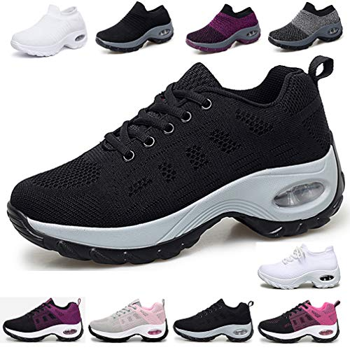 Hsyooes Women Comfort Walking Shoes Casual Lightweight Mesh Slip On Athletic Sneakers Wedges Fitness Shoes
