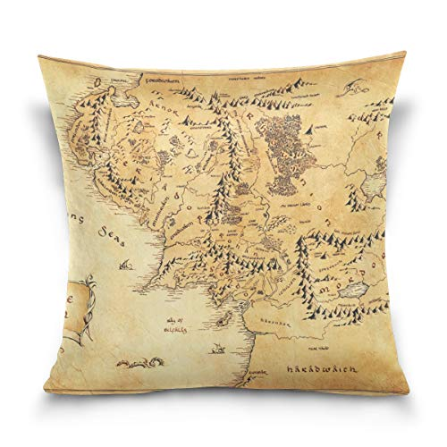 BHUIA Lord of The Ring (Map) Throw Pillows Covers Accent Home Sofa Car Cushion Cover Pillowcase Gift Decorative 16X16 inch