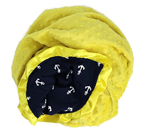 Onyx Arrow Baby Blanket, Navy White Anchors Cotton Print, Yellow Minky Dot, Satin Ruffle Trim, Mix and Match