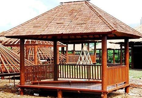 Rectangular Coco Madera Cenador con barandilla + Escaleras/Jardín & Outdoor Deko/Variante: Tamaño U techo una cobertura: 3 x 4 m paja de arroz techo: Amazon.es: Jardín