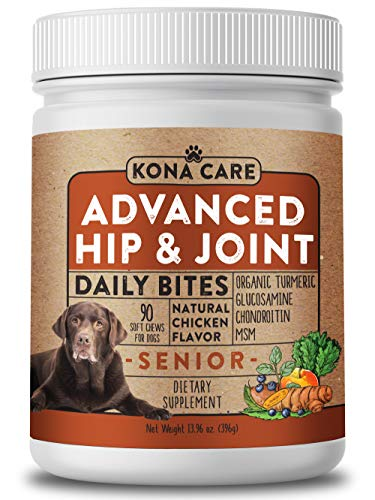 Advanced Strength Hip & Joint Supplement for Dogs - Organic Turmeric, Glucosamine, Chondroitin, and MSM - Made with All-Natural Ingredients - Supports Healthy Joints, Improves Mobility - 90 Soft Chews