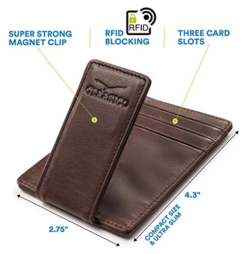a4ac378f1 ... Money Clip Leather Wallet For Men Slim Front Pocket RFID Blocking Card  Holder With Super Strong ...