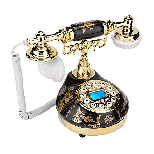 Mugast Vintage Corded Telephone,Retro Antique FSK/DTMF Caller ID Desktop Wired Landline Phone with Electronic Desk Calendar/Date/Clock Display for Home/Office/Hotel Decoration from Mugast