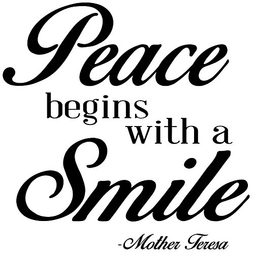 [Mother Teresa Quotes Wall Art Decals are a great way to Decorate your quite time area & Pray the Rosary with Mother Teresa of Calcutta. Displaying Peace begins with a Smile] (Missionary Costumes)