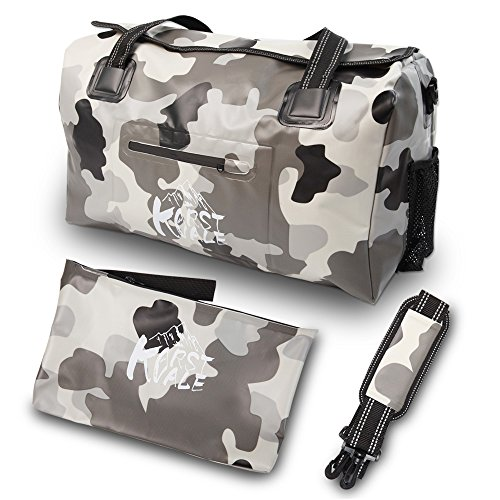 Karst Vale Waterproof Duffel Bag,40L Travel Tote Luggage Bag with Shoulder Strap, First Generation Forest Camo Gray