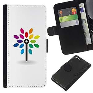 WINCASE Cuadro Funda Voltear Cuero Ranura Tarjetas TPU Carcasas Protectora Cover Case Para Apple Iphone 5C - limpia arco iris minimalista blanco