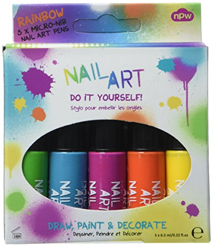 NPW-USA 5 Piece Nail Art Pens, Rainbow Brights ()