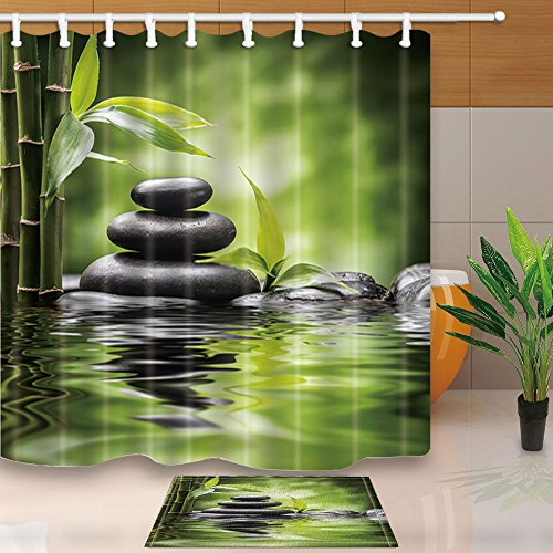 Zen Garden Rug (KOTOM Spa Decor, Zen Garden Theme Basalt Stones and Bamboo in Water, 69X70in Mildew Resistant Polyester Fabric Shower Curtain Suit With 15.7x23.6in Flannel Non-Slip Floor Doormat Bath Rugs)