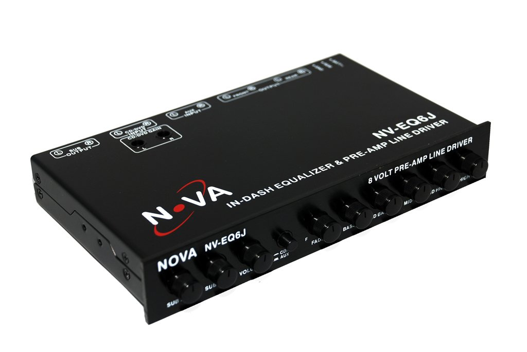 NOVA NV-EQ6J - In Dash 1/2 Din Equalizer and Pre-Amp with Subwoofer Gain Control and Built-in Crossover, with Fader and Five-Band