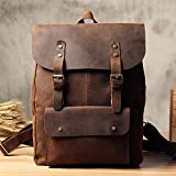 Vintage Genuine Leather School Backpack Casual Rucksack Travel Backpack Laptop Bag