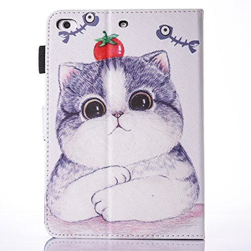 iPad Air 2/iPad Air/iPad 9.7 inch 2017 Case, PU Leather Folio [Anti-Slip] Cover with [Magnetic Closure] [Cards Slots] Auto Sleep/Wake for Apple iPad 9.7 2017/iPad Air 1&2 (iPad 5&6), Sketch Cat by Wallace Elec (Image #3)